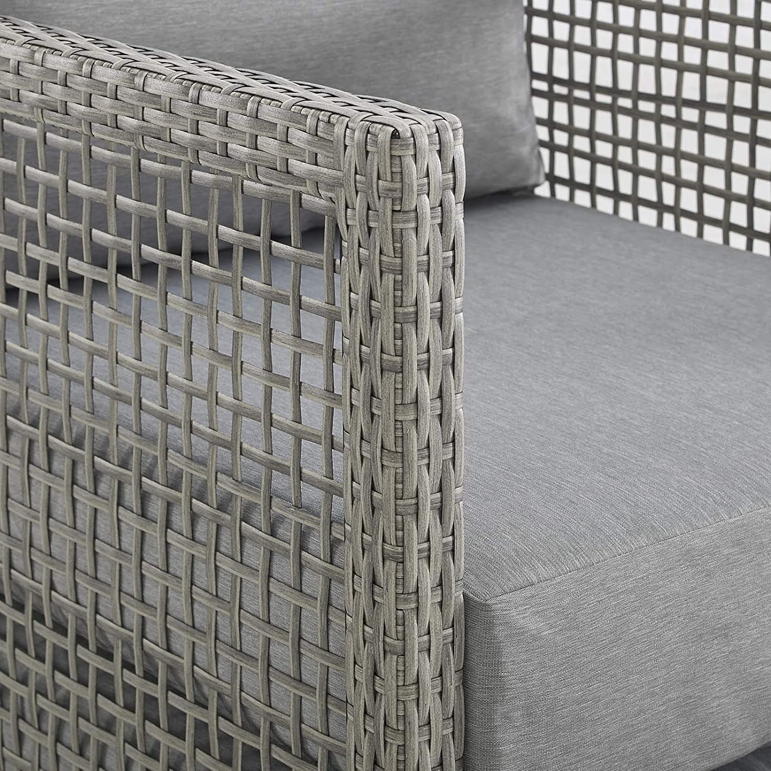 Outdoor Loveseat In Gray Rattan Weave Frame - image-3