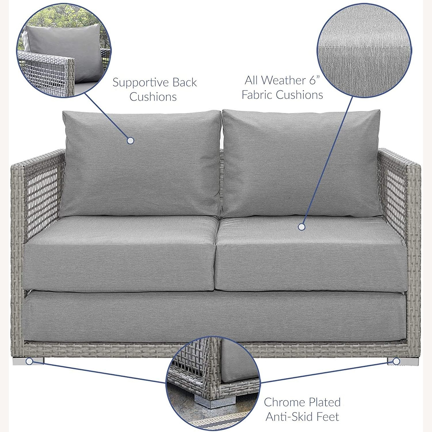 Outdoor Loveseat In Gray Rattan Weave Frame - image-5
