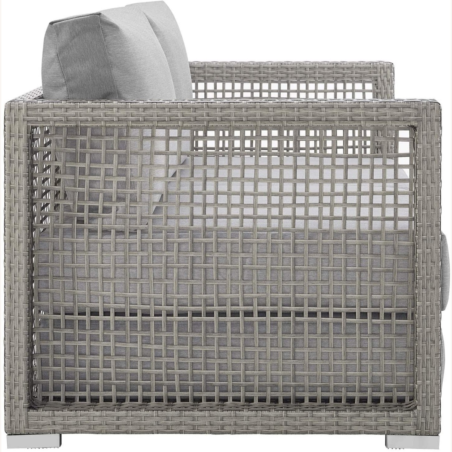 Outdoor Loveseat In Gray Rattan Weave Frame - image-1