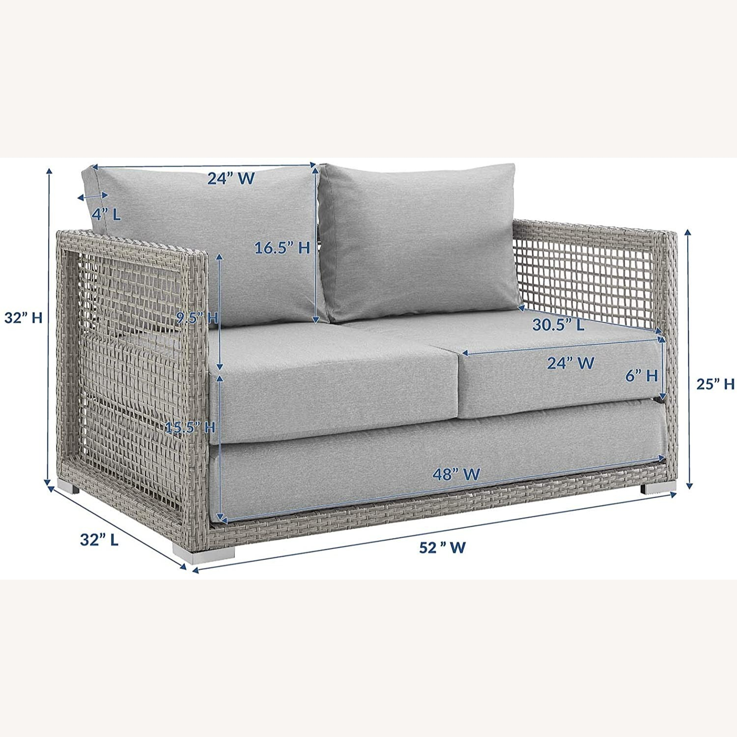 Outdoor Loveseat In Gray Rattan Weave Frame - image-8