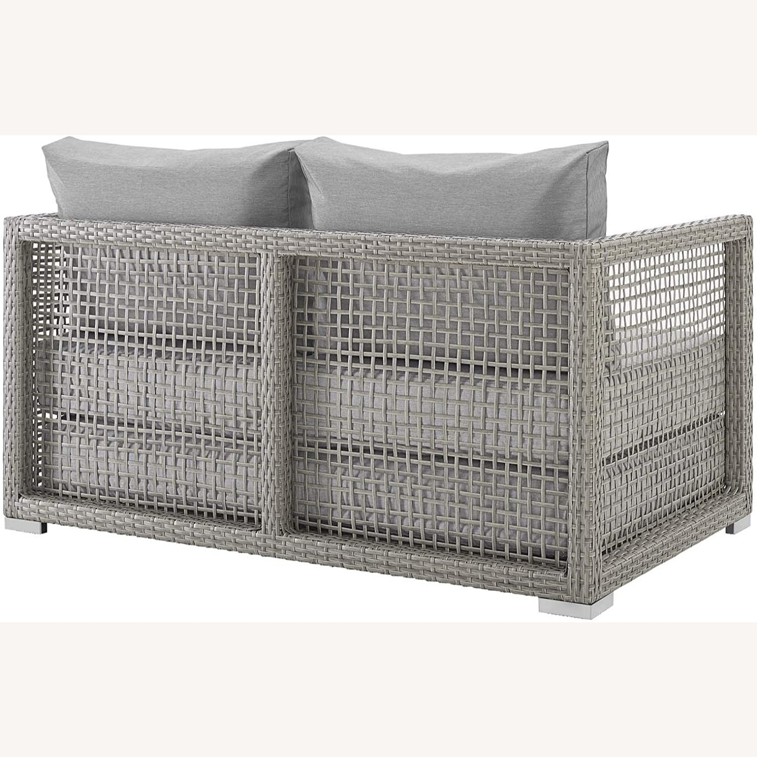 Outdoor Loveseat In Gray Rattan Weave Frame - image-2