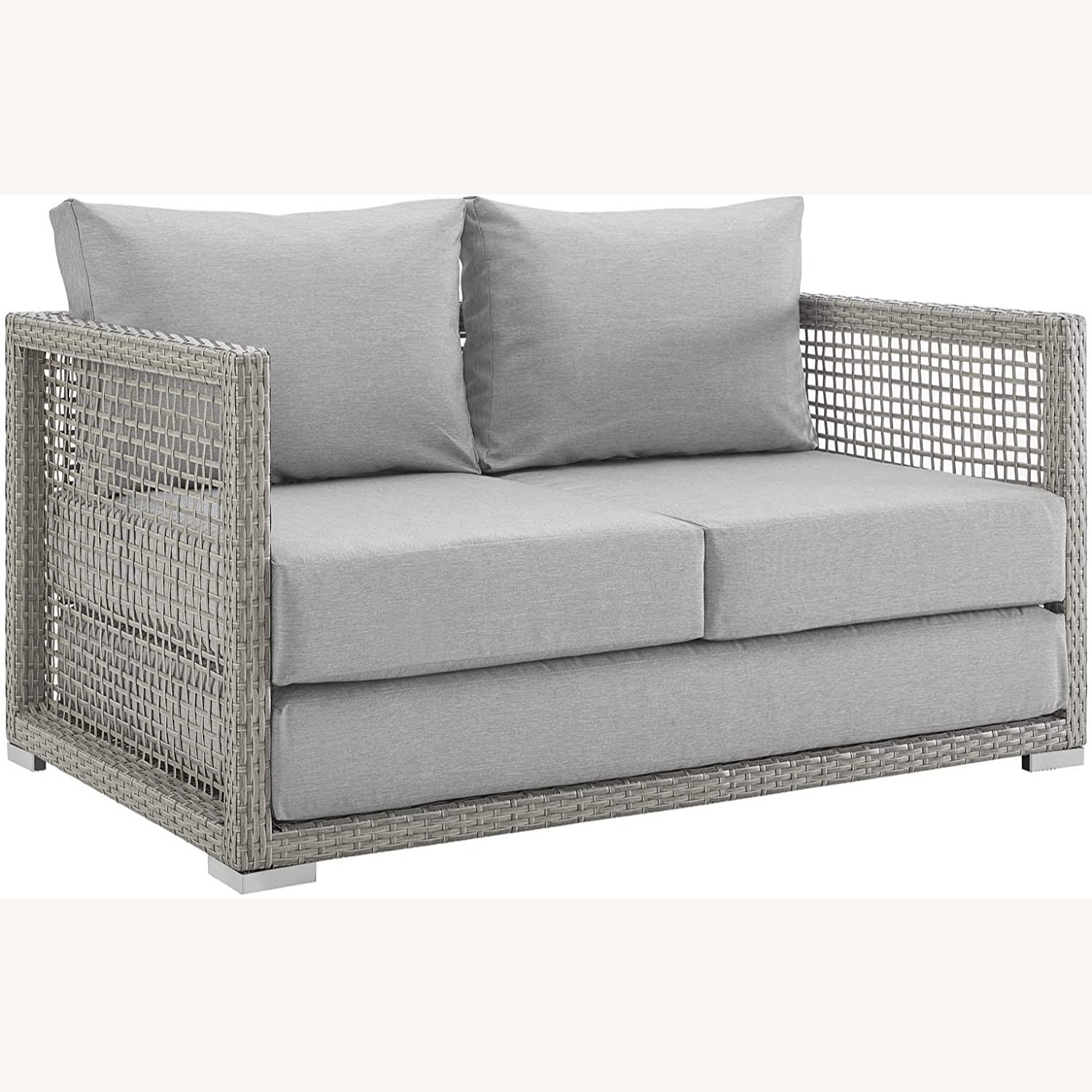 Outdoor Loveseat In Gray Rattan Weave Frame - image-0