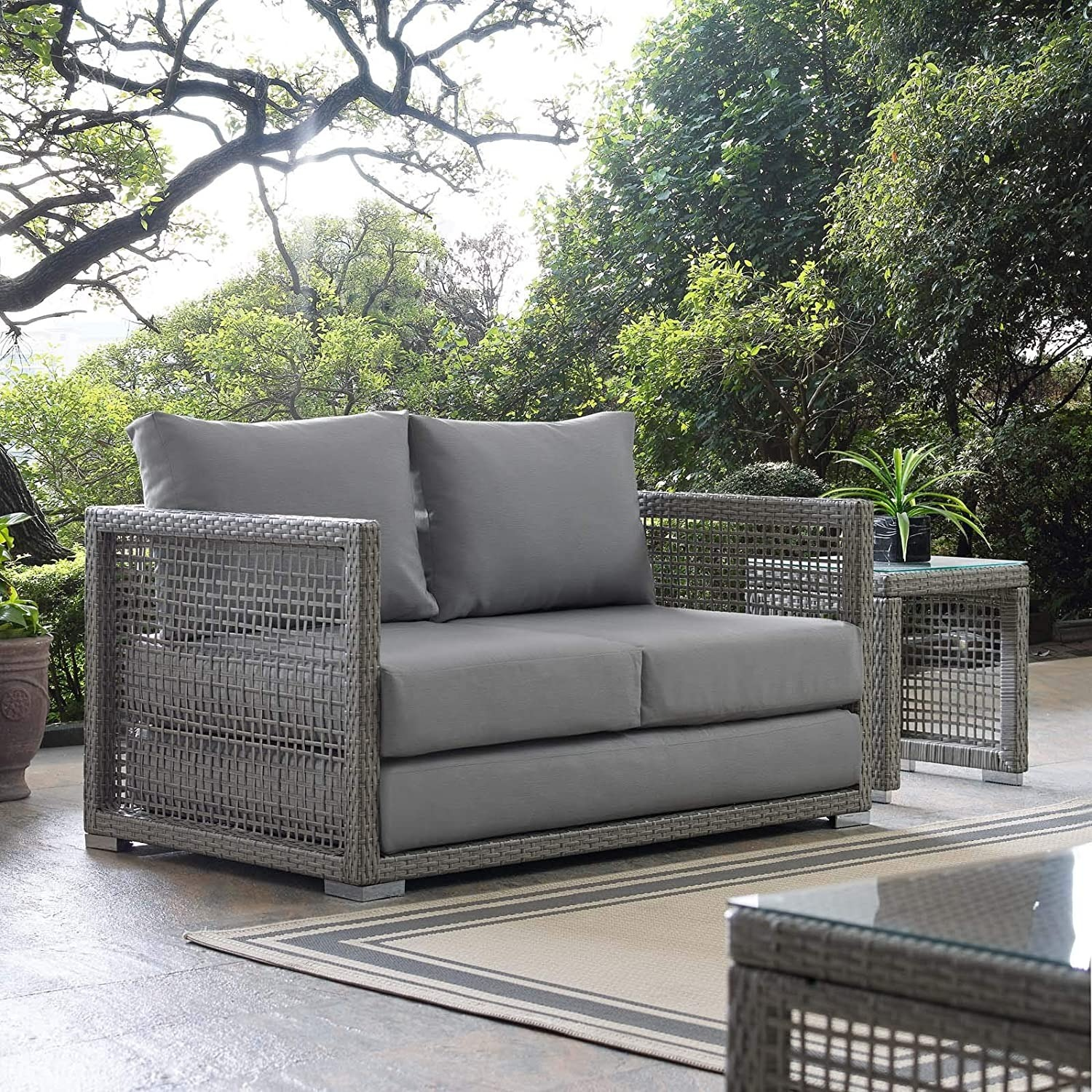 Outdoor Loveseat In Gray Rattan Weave Frame - image-4