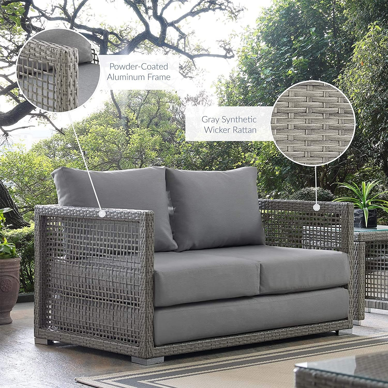 Outdoor Loveseat In Gray Rattan Weave Frame - image-6