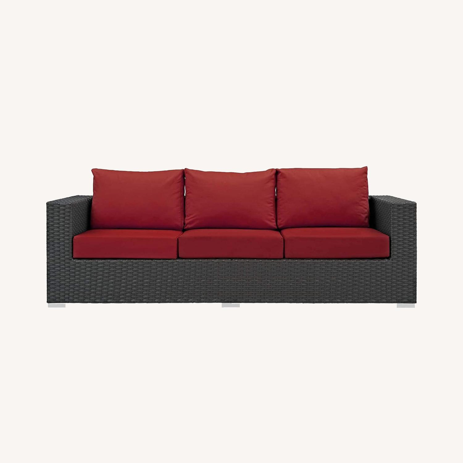 Outdoor Sofa In Rattan Weave Finish W/ Red Cushion - image-5