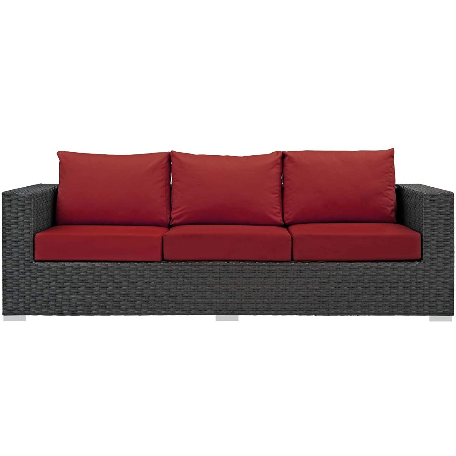 Outdoor Sofa In Rattan Weave Finish W/ Red Cushion - image-0