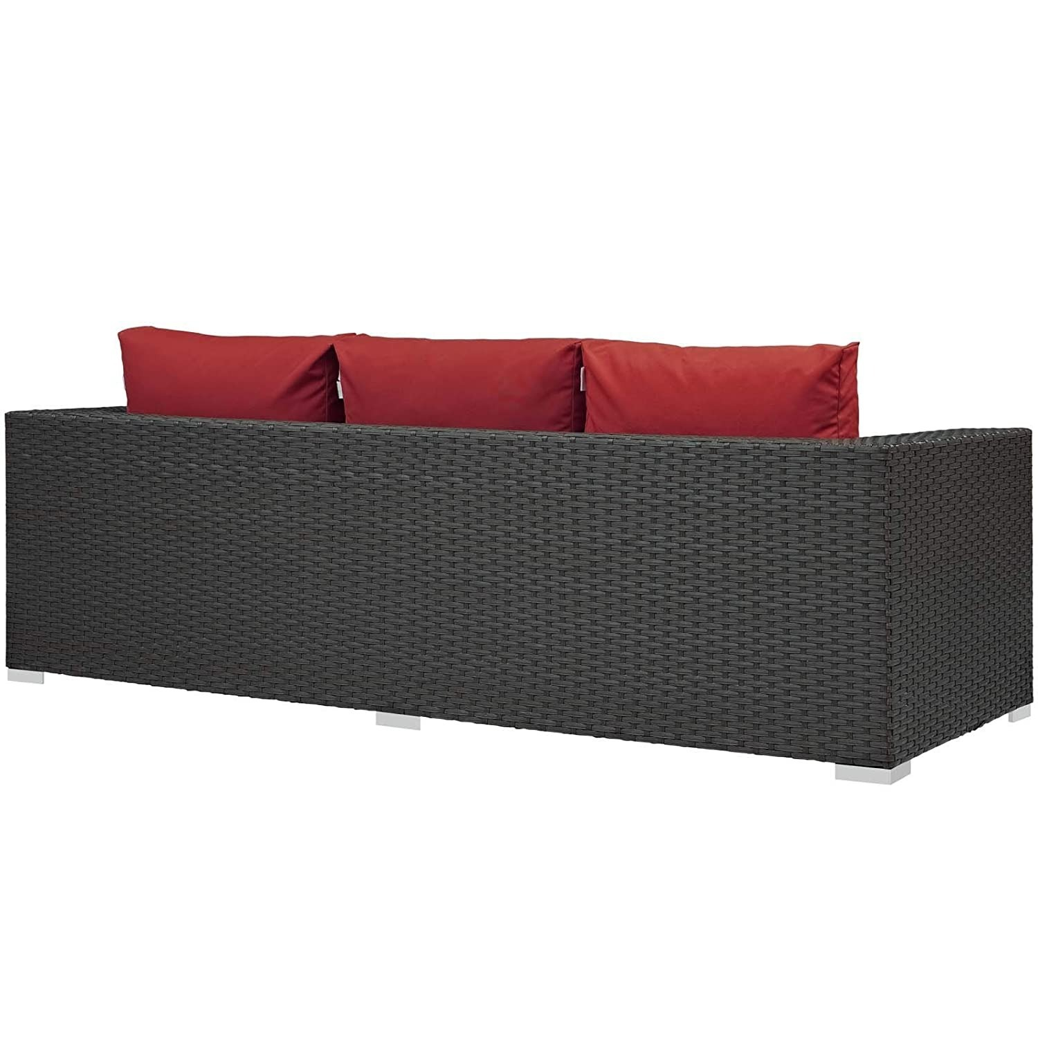 Outdoor Sofa In Rattan Weave Finish W/ Red Cushion - image-2