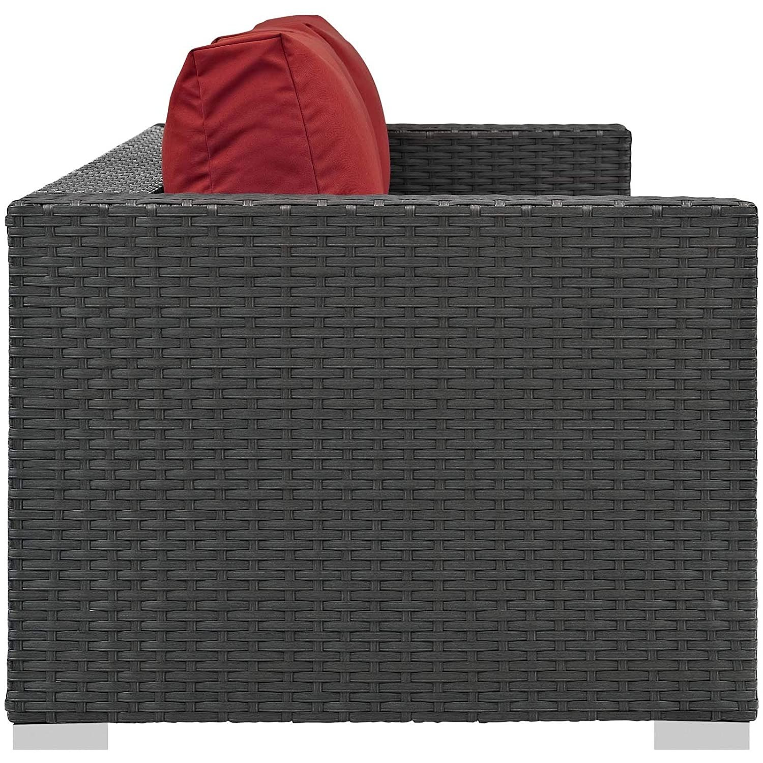 Outdoor Sofa In Rattan Weave Finish W/ Red Cushion - image-1