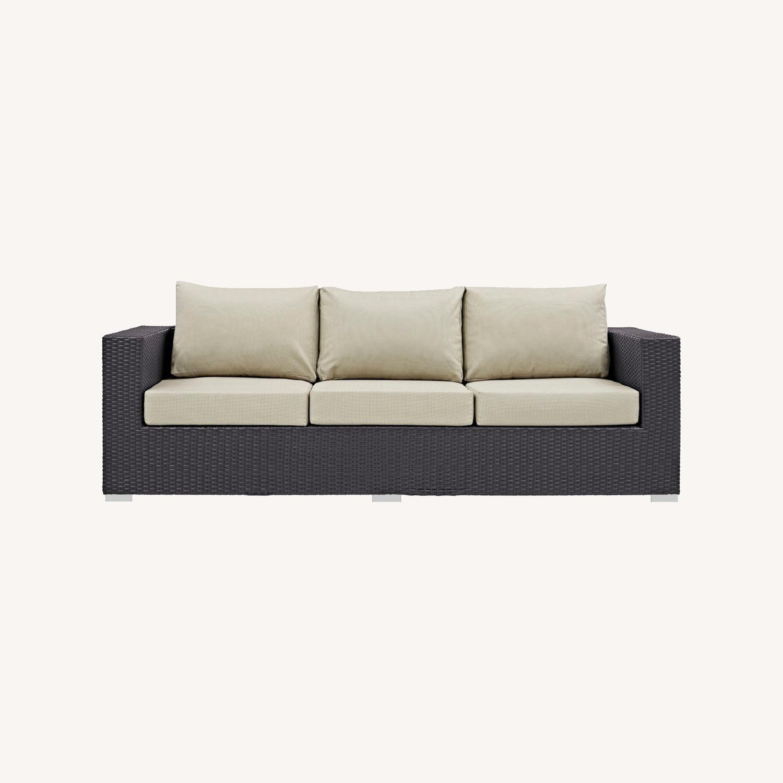 Outdoor Sofa In Beige Rattan & Espresso Cushion - image-6