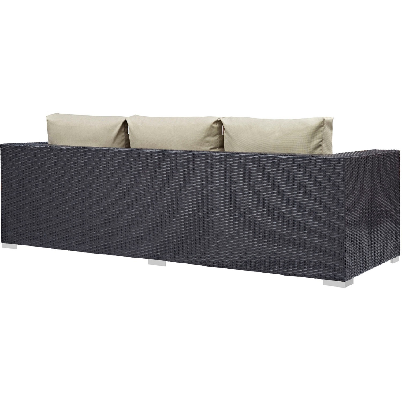 Outdoor Sofa In Beige Rattan & Espresso Cushion - image-2