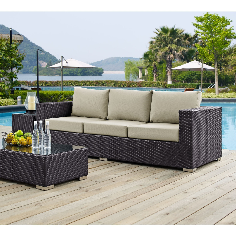 Outdoor Sofa In Beige Rattan & Espresso Cushion - image-4
