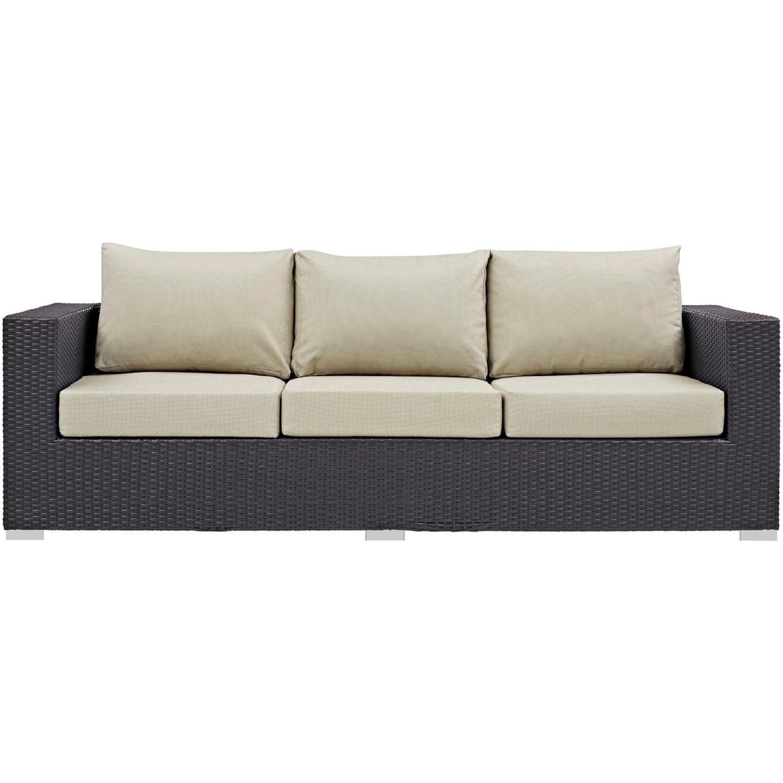 Outdoor Sofa In Beige Rattan & Espresso Cushion - image-3