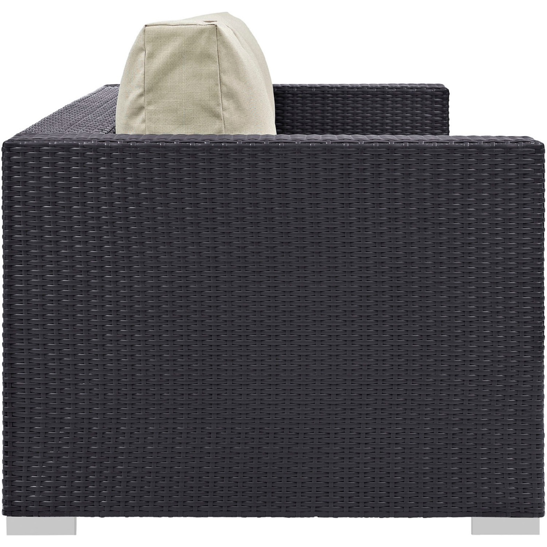 Outdoor Sofa In Beige Rattan & Espresso Cushion - image-1