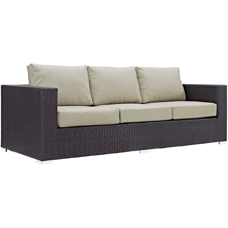 Outdoor Sofa In Beige Rattan & Espresso Cushion - image-0