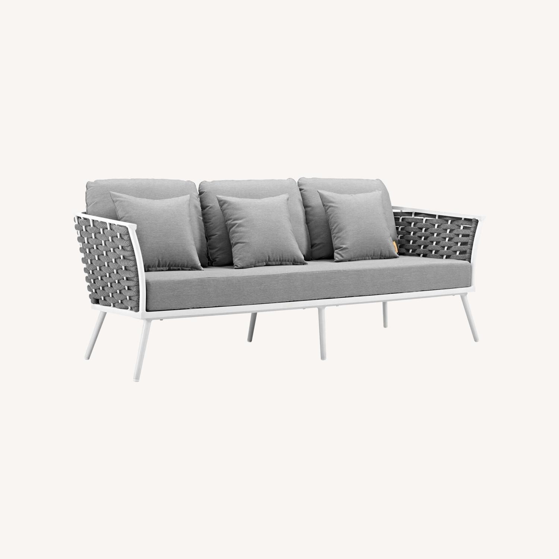 Outdoor Patio Sofa In White & Gray Aluminum Frame - image-6