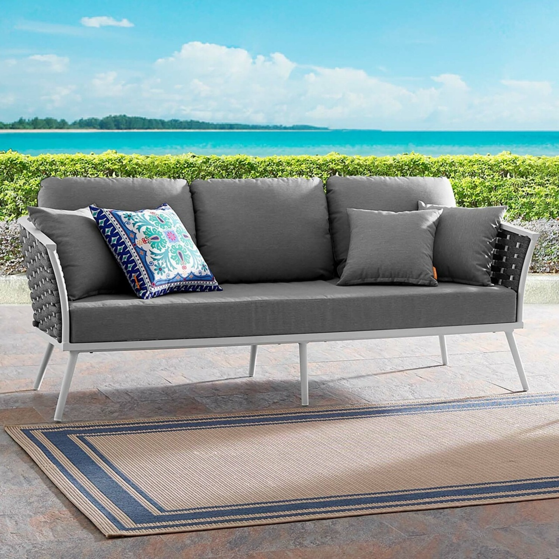 Outdoor Patio Sofa In White & Gray Aluminum Frame - image-4