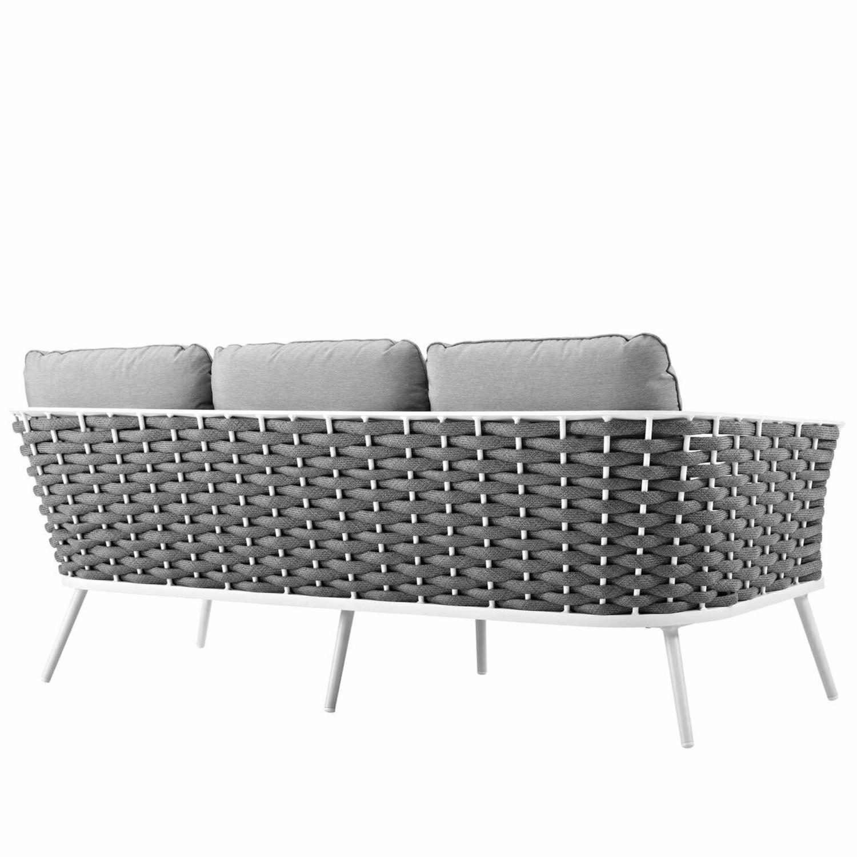 Outdoor Patio Sofa In White & Gray Aluminum Frame - image-2