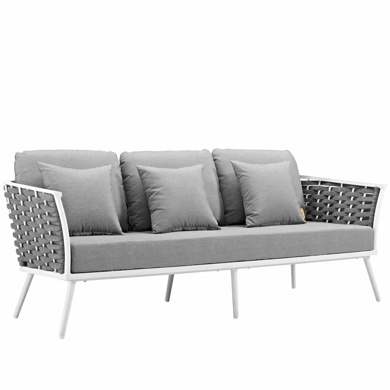 Outdoor Patio Sofa In White & Gray Aluminum Frame - image-0