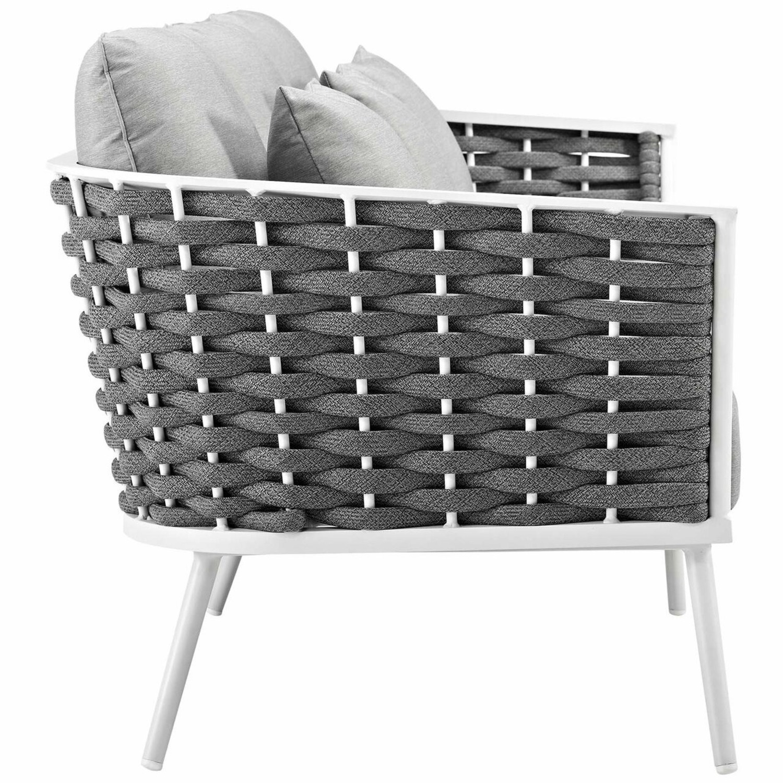 Outdoor Patio Sofa In White & Gray Aluminum Frame - image-1