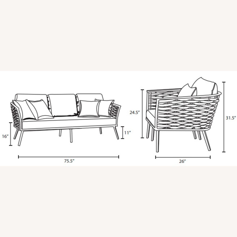 Outdoor Patio Sofa In White & Gray Aluminum Frame - image-5