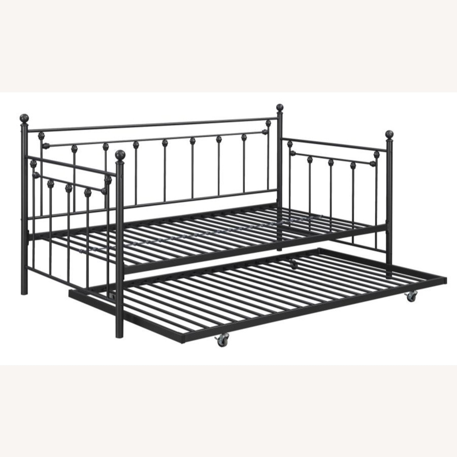 Daybed In Gunmetal Steel Finish W/ Trundle - image-1