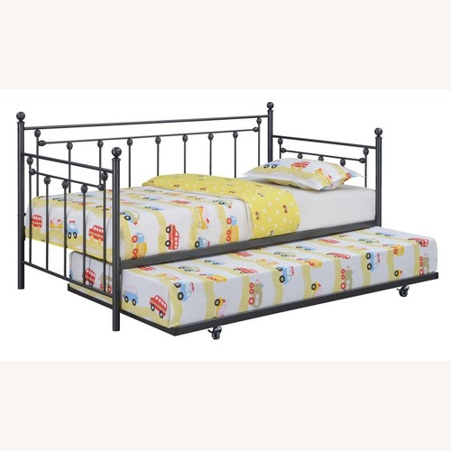 Used Daybed In Gunmetal Steel Finish W/ Trundle for sale on AptDeco