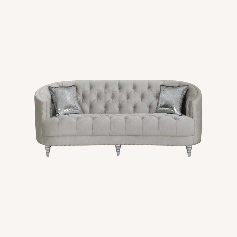 Sofa In Grey Velvet W/ Rhinestone Tufting - image-6