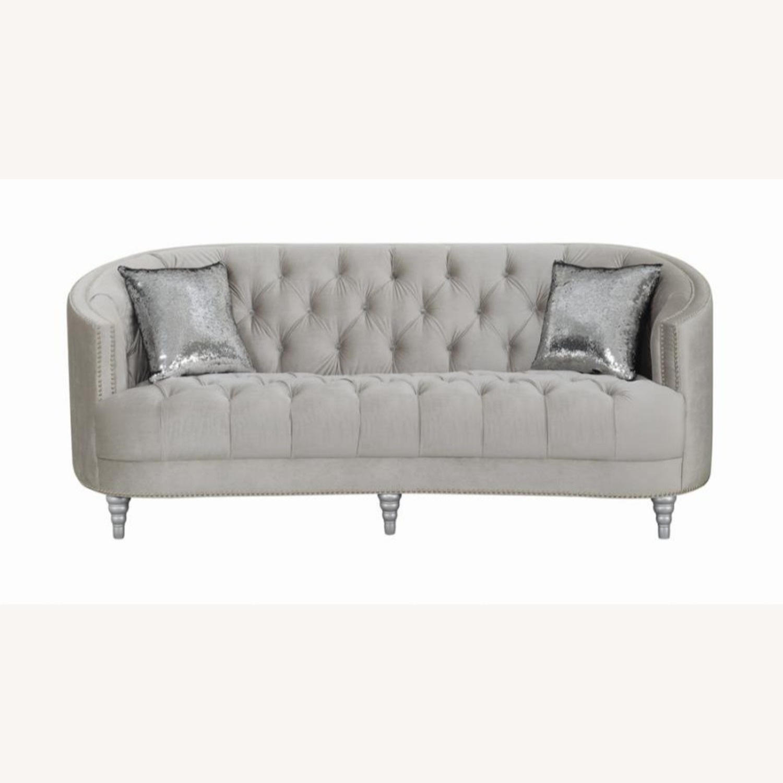 Sofa In Grey Velvet W/ Rhinestone Tufting - image-1