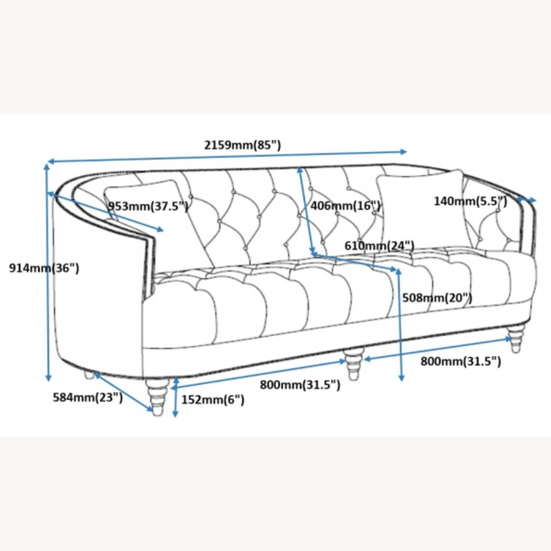 Sofa In Grey Velvet W/ Rhinestone Tufting - image-5