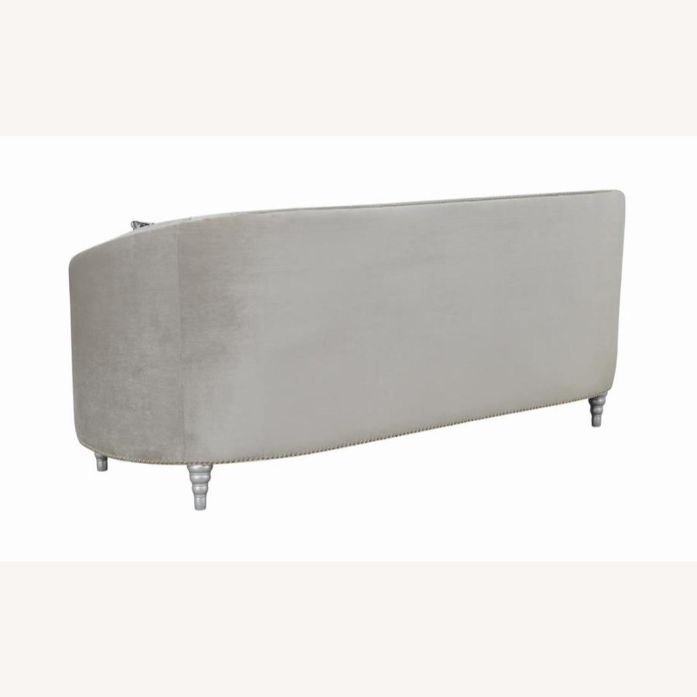 Sofa In Grey Velvet W/ Rhinestone Tufting - image-3