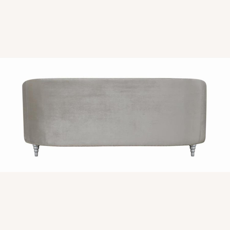Sofa In Grey Velvet W/ Rhinestone Tufting - image-2