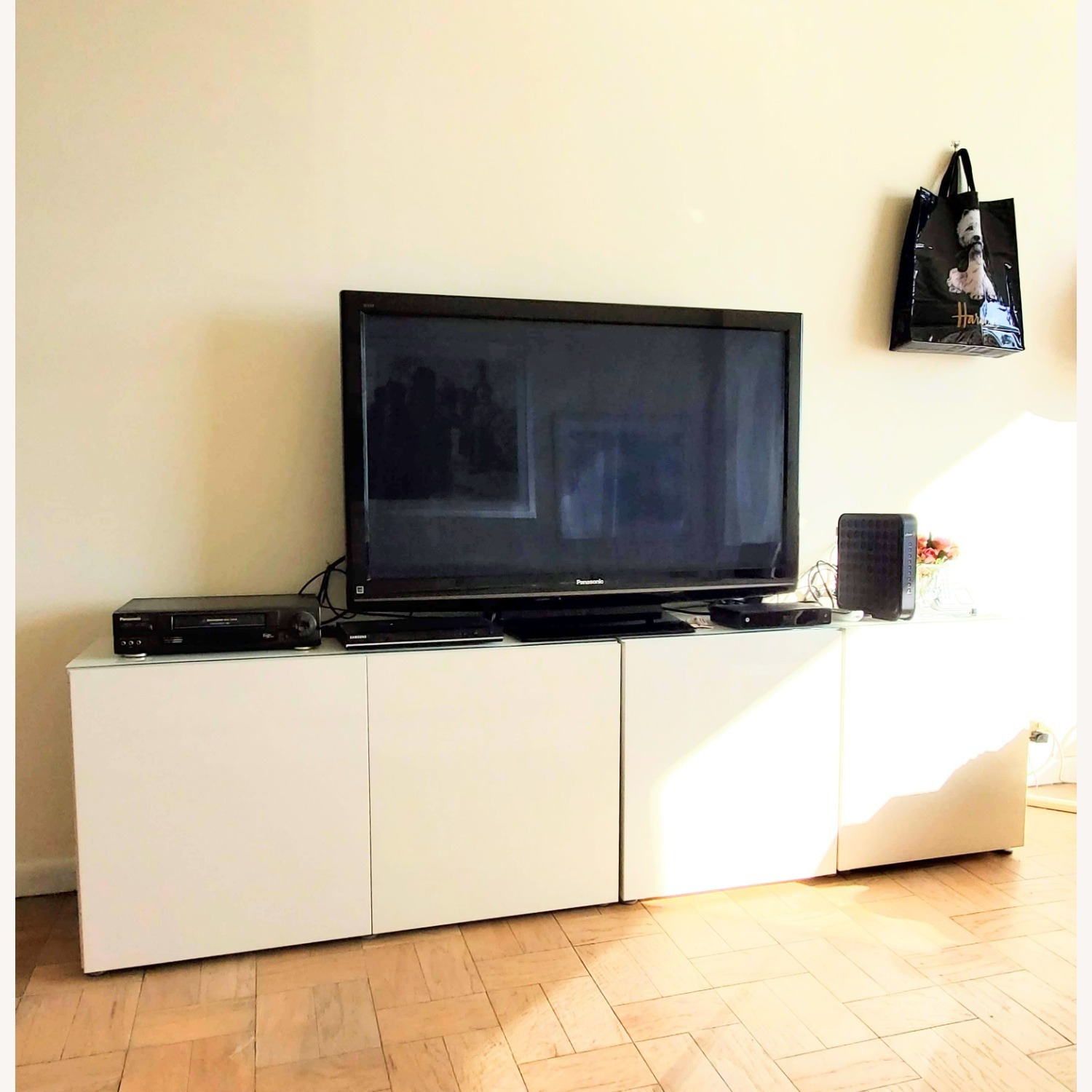 IKEA Besta TV Stand with White Glass Top - image-1