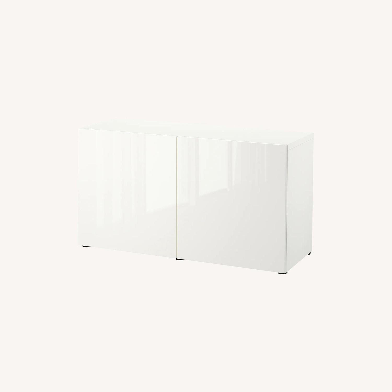 IKEA Besta TV Stand with White Glass Top - image-0