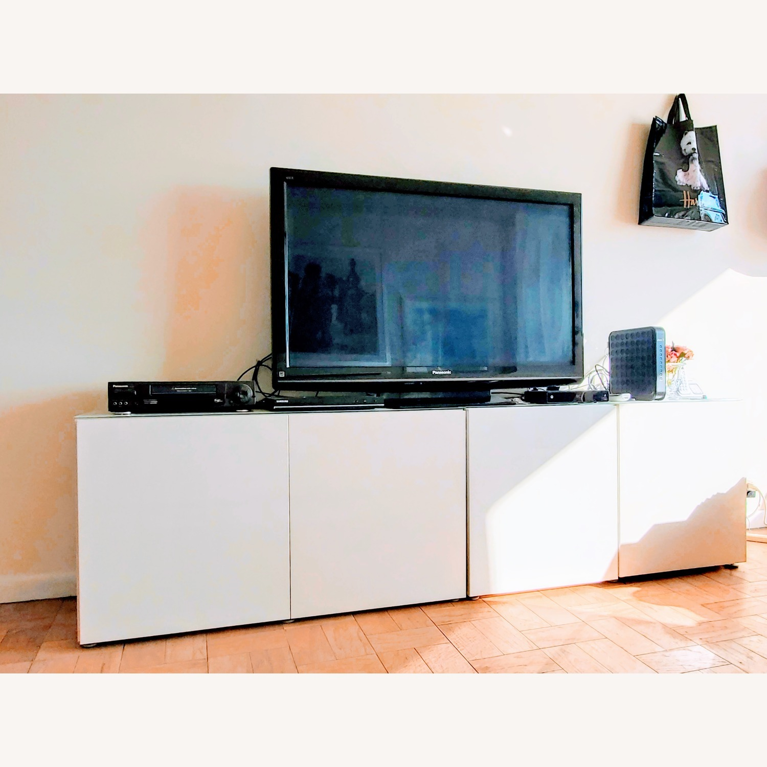 IKEA Besta TV Stand with White Glass Top - image-4