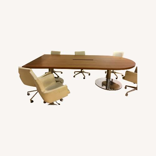 Used All Wood Conference Table w/ 6 Leather Chairs for sale on AptDeco