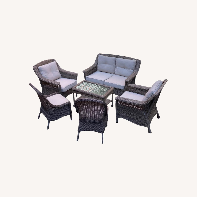 6 Piece Beige Outdoor Patio Furniture Set - image-0