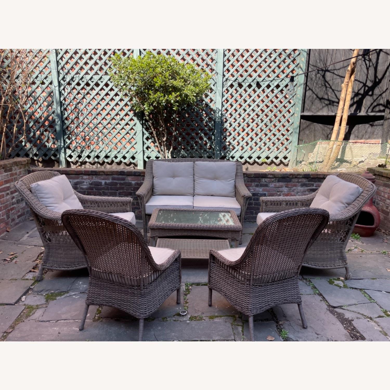 6 Piece Beige Outdoor Patio Furniture Set - image-2