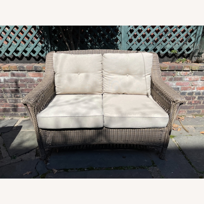 6 Piece Beige Outdoor Patio Furniture Set - image-5
