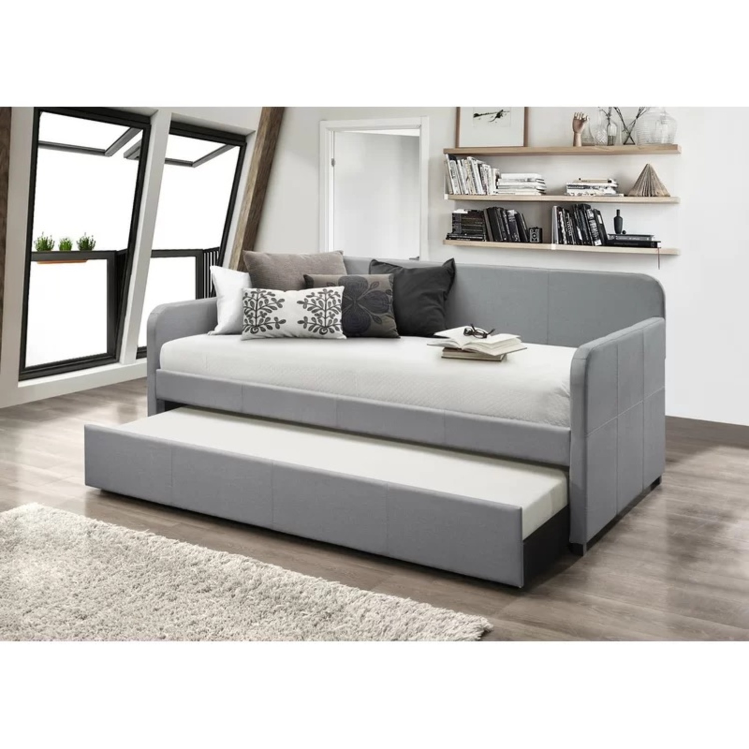Wayfair Upholstered Long Twin Daybed with Trundle Storage - image-2