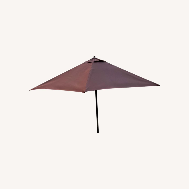 Burnt Orange Outdoor Patio Garden Umbrella + Stand - image-0