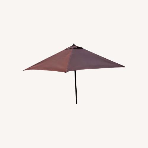 Used Burnt Orange Outdoor Patio Garden Umbrella + Stand for sale on AptDeco