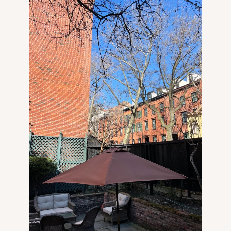 Burnt Orange Outdoor Patio Garden Umbrella + Stand - image-7