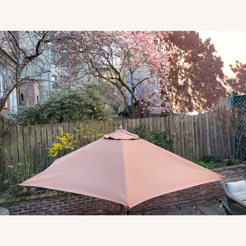 Burnt Orange Outdoor Patio Garden Umbrella + Stand - image-4
