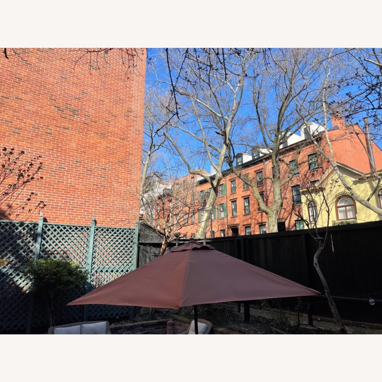 Burnt Orange Outdoor Patio Garden Umbrella + Stand - image-8