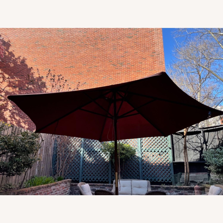 Burnt Orange Outdoor Patio Garden Umbrella + Stand - image-9