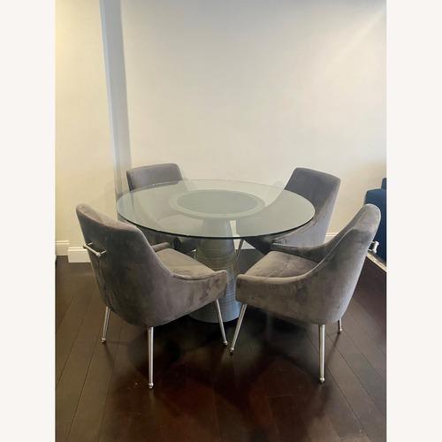 Used TOV Furniture Grey Velvet Dining Chair Set (4) for sale on AptDeco