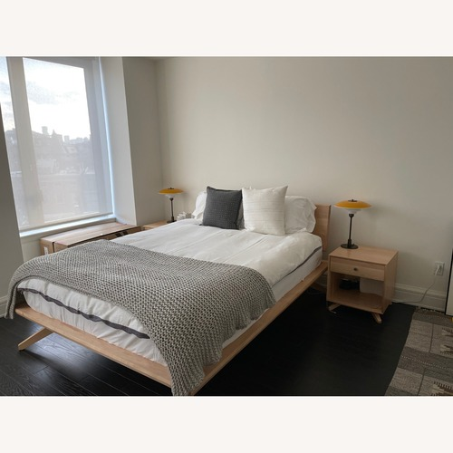 Used Copeland Maple Wood Queen bed for sale on AptDeco