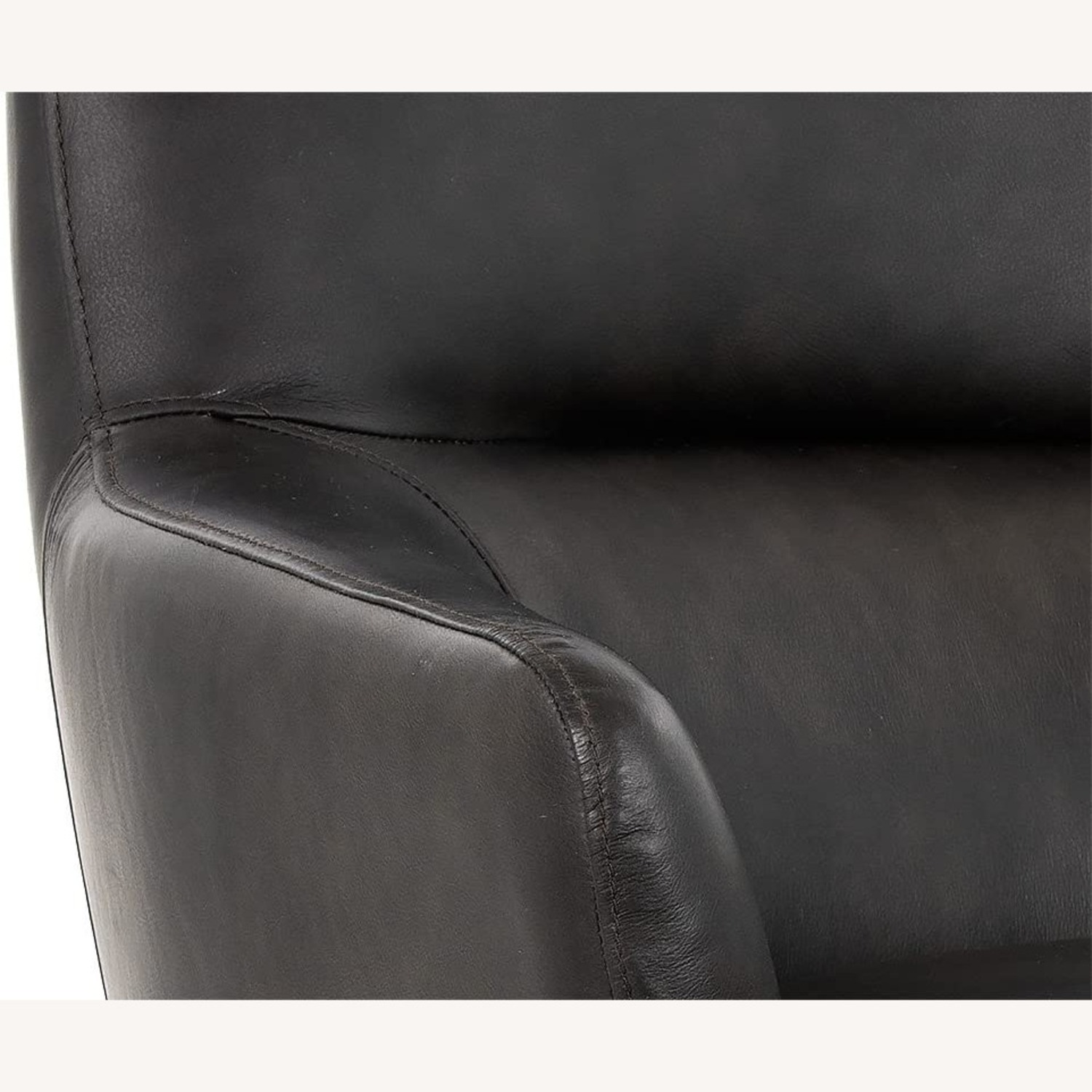Modern Swivel Chair - Charcoal Leather - image-4