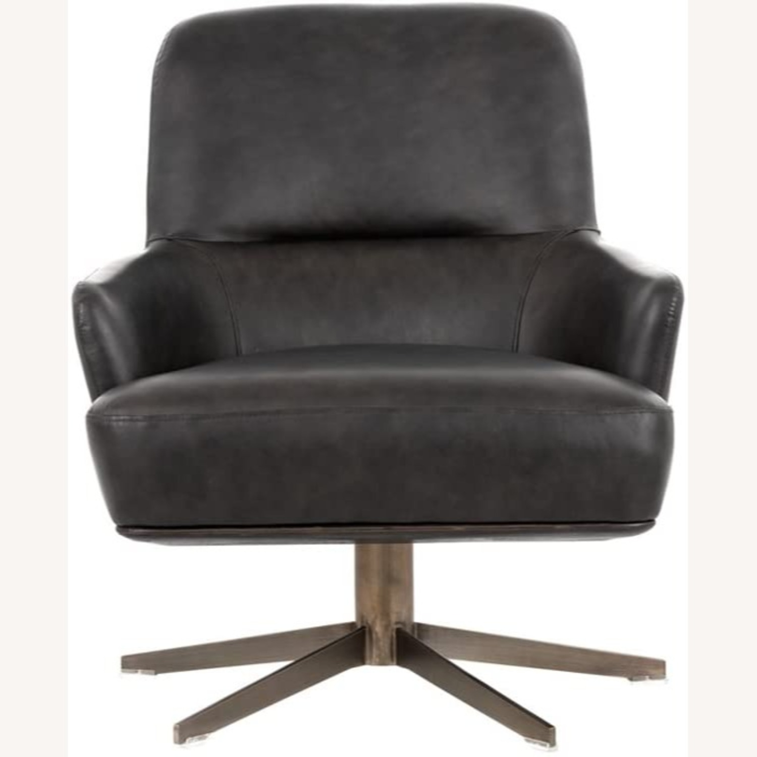 Modern Swivel Chair - Charcoal Leather - image-1