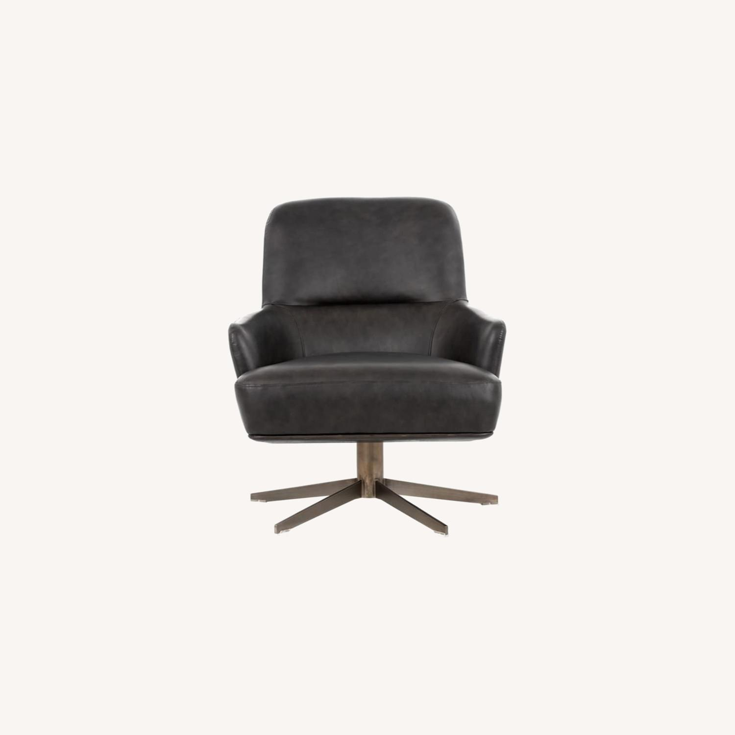 Modern Swivel Chair - Charcoal Leather - image-0